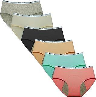 MeeWay Women Period Panties Leak-Proof Organic Cotton Protective Underwear Pack of 6 (S)