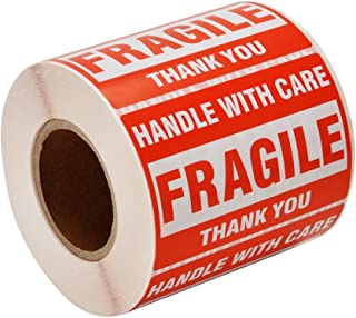 "[1 Roll, 500 Labels] 2"" x 3"" Fragile Stickers Handle with Care Warning Packing/Shipping Labels - Permanent Adhesive"
