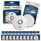10x Nemaxx FL10VdS - VDS Detector de Humo/Alarma + Pad de fijación - VDS Certificado EN 14604 con Pila de de lítio incluida de Larga duración - 10 años de Vida - Blanco