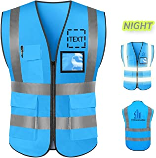 Big Size High Visibility Safety Vest Custom Logo Protective Workwear 5 Pockets With Reflective Strips Outdoor Work Vest (Blue (L))