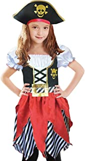 Girls Deluxe Pirate Buccanner Princess Costume for Kids Size3-4, 5-6,7-8,9-10