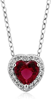 925 Sterling Silver Heart Shape Red Zirconia Pendant Necklace (1.13 Cttw, With 18 Inch Silver Chain)