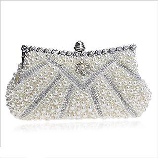 DIEBELLAU Ladies Dinner Bag Ladies Pearl Banquet Bag Dress Hand Evening Bag Clutch Bag (Color : White, Size : XS)