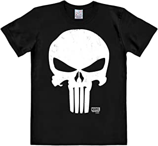 Logoshirt - Camiseta unisex del Castigador (Punisher), Marvel Comics, con cuello redondo, color Negro - Diseño original con licencia
