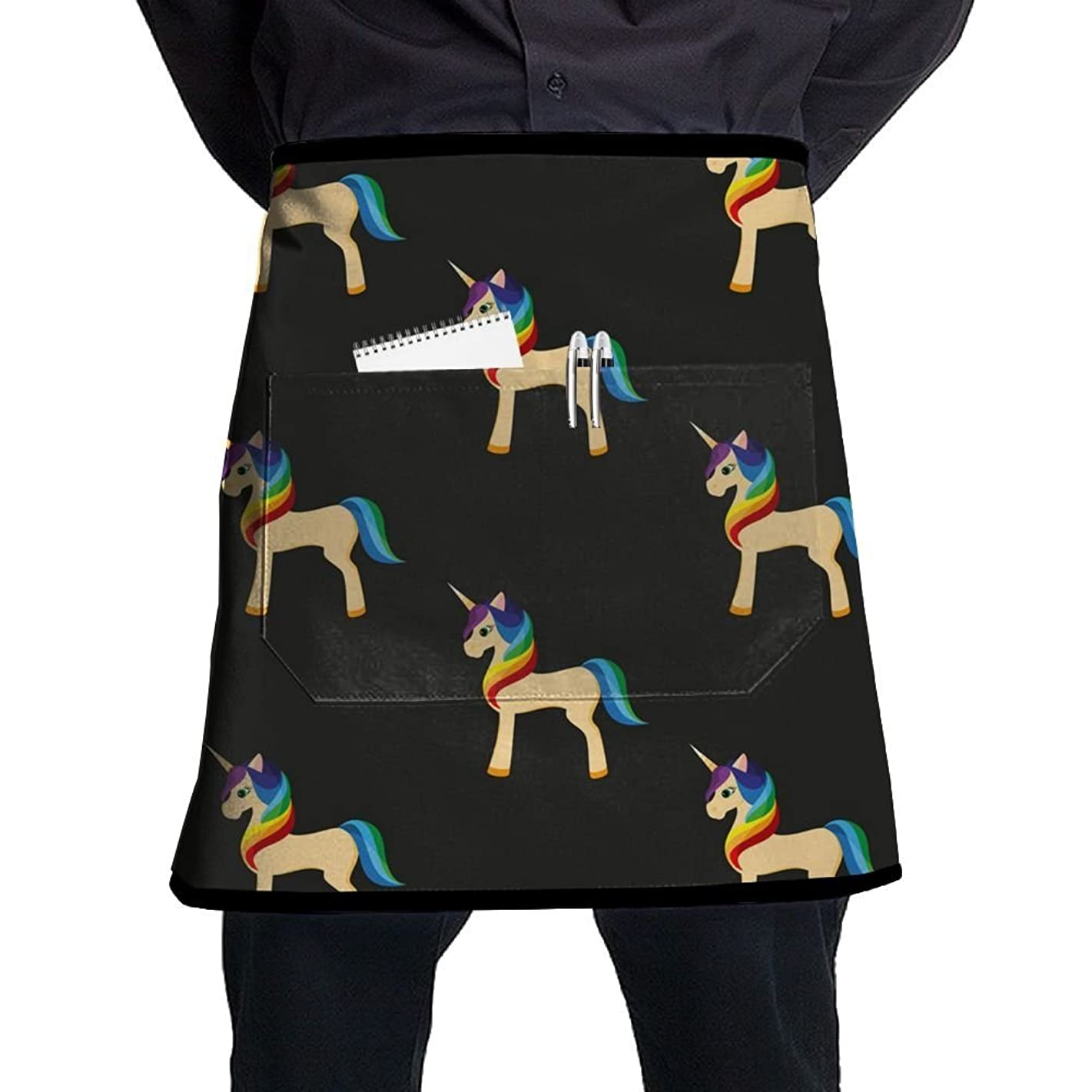 POIUYDG Golden Unicorn With A Rainbow Kitchen Apron With Pocket Half Length Short Waist Apron With Pocket For Men And Women