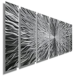 Statements2000 Electrifying Natural Silver Contemporary Metallic Wall Sculpture with Sleek Abstract Etchings - Futuristic Home Decor, Home Accent, Modern Metal Panel Wall Art - Vortex by Jon Allen
