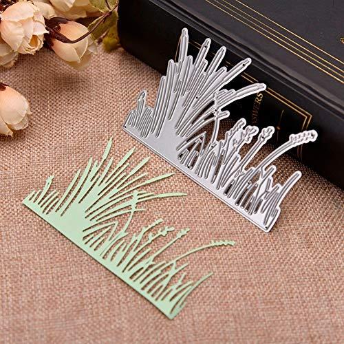 Huhuswwbin Stanzschablone aus Metall, Gras Form Metall Stanzform DIY Pr?ge Sammelalbum Papier Karten Handwerk Schablone - Silber