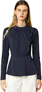 Allegra K Women's Stand Collar Long Sleeve Ruched Front Work Peplum Top
