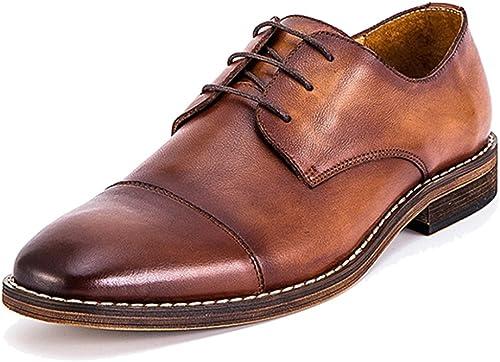MERRYHE zapatos De Cordones Hechos A Mano De La Vendimia zapatos De Vestir Formales De Cuero Real Clásico De Derby para Los Muchachos Regalos del Padre De Los Muchachos