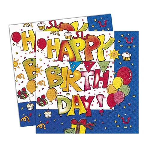 Procos- Serviettes en papier 2 plis 33 x 33 cm, Kokliko Happy Birthday, 20 pièces, multicolore, PR7256