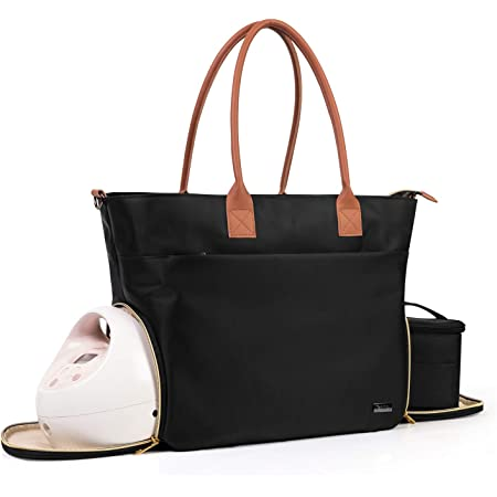 Teamoy Breast Pump Travel Bag, Leather Handle Pumping Tote Compatible with Spectra S1,S2, Medela and Cooler Bag, Laptop Breast Pump Storage Bag for Working Moms, Black (PU Handle)