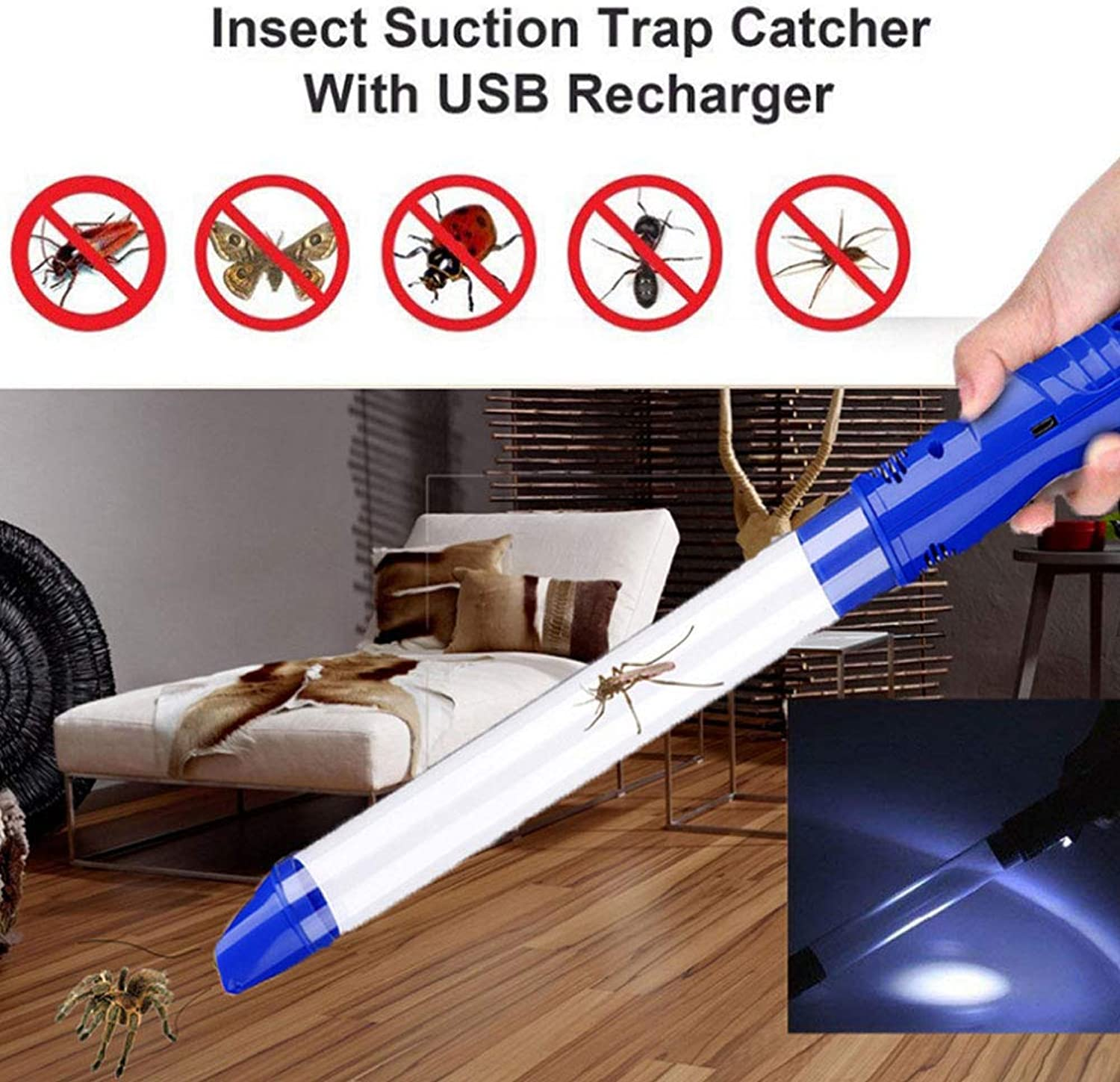 Humane Spider Catcher, Bug Insect Catcher Vacuum with LED Flashlight, USB Rechargeable Vacuum Spider Catcher Pest Control for Home and Office,bluee