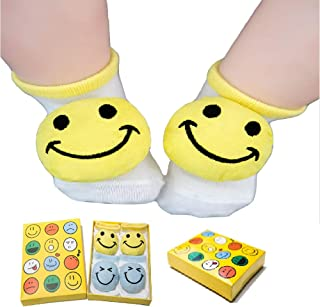 Love Peace-Baby Registry Gift,Baby First Christmas Gift,Calcetines De Regalo Para Bebé-Unisex, 2 Pairs Cotton Socks,Non Skid Sock,Newborn Gifts,Funny Baby Socks,Baby Welcome Box(Yellow&Blue)