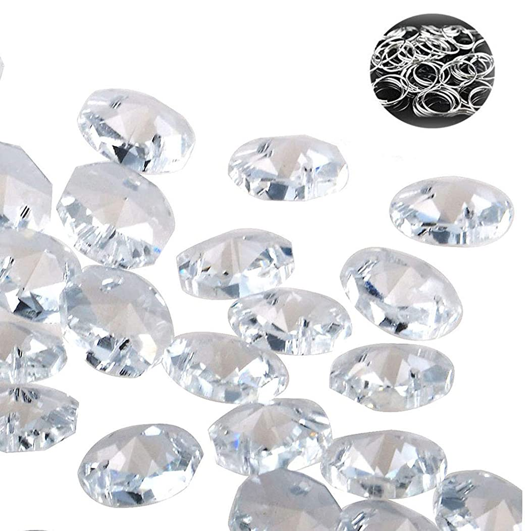 H&D 100pcs 18mm Clear Crystal 2 Hole Octagon Beads Glass Chandelier Prisms Lamp Hanging Parts