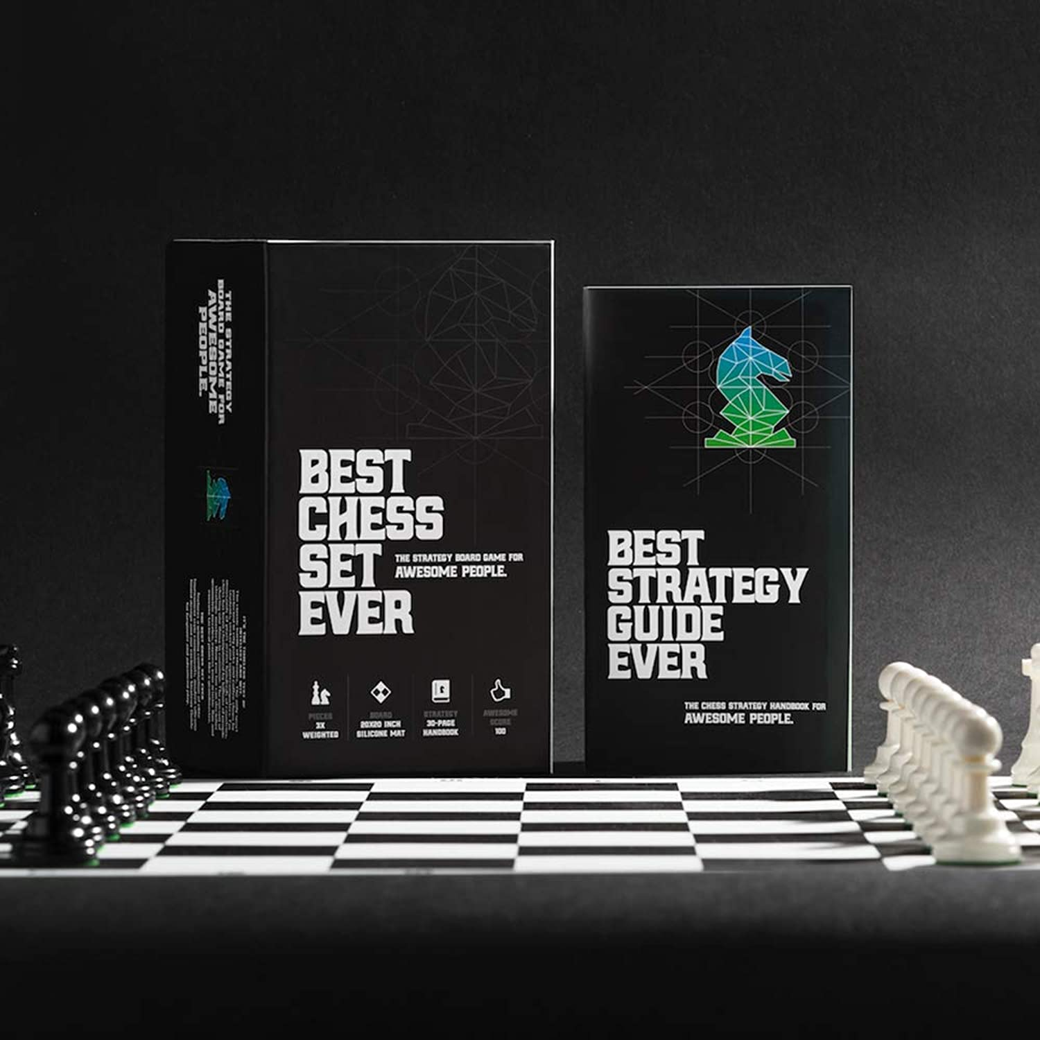 Best Chess Set Ever II Board Game With Triple Weight Pieces, Green Board and Box by Chess Geeks