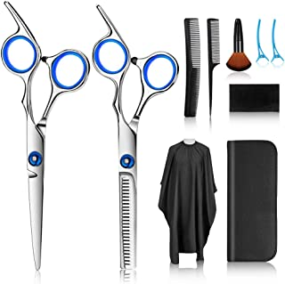 Hair Cutting Scissors Kits, 10 Pcs Stainless Steel Hairdressing Shears Set Professional Thinning Scissors For Barber/Salon...