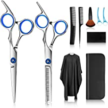 Hair Cutting Scissors Kits, Stainless Steel Hairdressing Shears Set Thinning/Texturizing Scissors Professional Barber/Salo...
