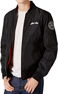 American Rag Mens Hooded Patched Bomber Jacket