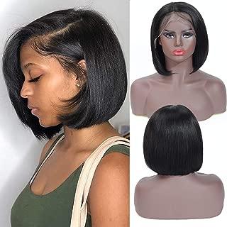 13x4 Lace Front Short Bob Wigs 100% Human Hair Wigs Brazilian Virgin Hair Straight Wig (12 Inches)