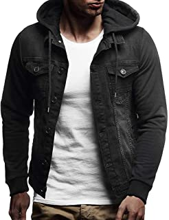 Colmkley Mens Hooded Retro Distressed Denim Slim Button Jacket Tops Coat Outwear