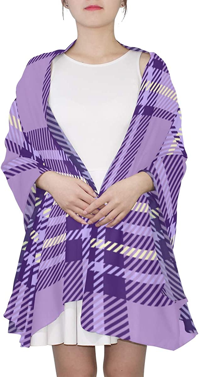 Girls'purple Checks Unique Fashion Scarf For Women Lightweight Fashion Fall Winter Print Scarves Shawl Wraps Gifts For Early Spring