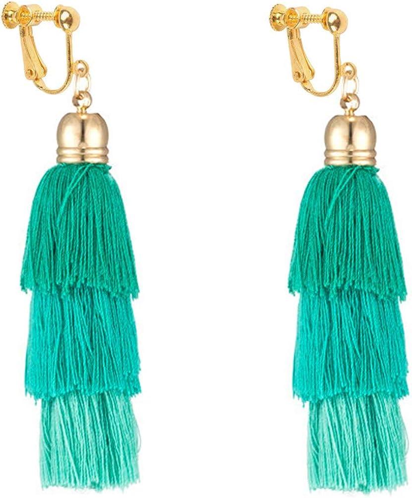 Tiered Tassel Clip on Earrings Layered Thread for Women Bohemian Drop Dangle Boho 3 Tiers Fringe