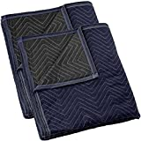 Sure-Max 2 Moving & Packing Blankets - Pro Economy - 80' x 72' (35 lb/dz weight) - Professional Quilted Shipping Furniture Pads Navy Blue and Black