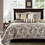 Madison Park Quilt Traditional Damask Design All Season, Lightweight Coverlet Bedspread Bedding Set, Matching Shams, Pillows, King/Cal King(104'x94'), Aubrey, Jacquard Paisley Black
