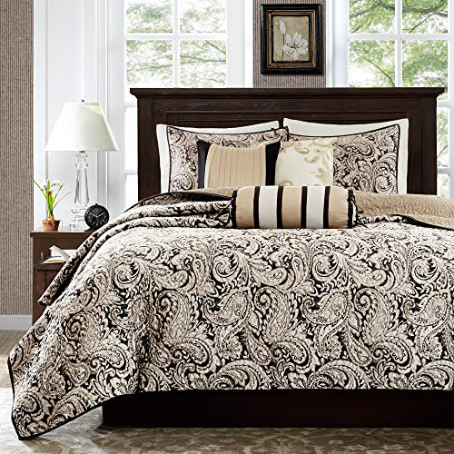 Madison Park Quilt Traditional Damask Design All Season, Lightweight Coverlet Bedspread Bedding Set, Matching Shams, Pillows, King/Cal King(104'x94'), Aubrey, Jacquard Paisley Black