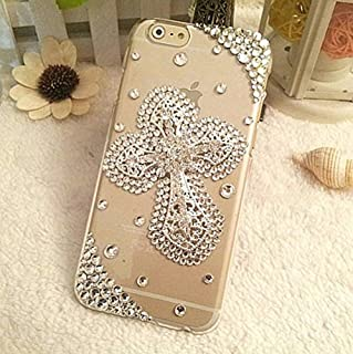 Samsung Galaxy S9 Plus Case - crystal_phonecase Luxury 3D Bling Handmade Jewelled Pearl Crystals Diamond Clear Case Cover for Samsung Galaxy S9 Plus (Cross in Crystals)
