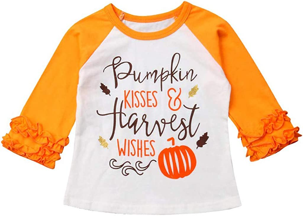 Zoepets Children Long Sleeve Shirts Letters Pumpkin Print Tops Double Lace Cuffs Clothing
