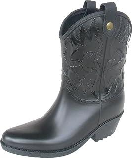 長靴 雨靴 完全防水 レインシューズ 晴雨兼用 ウエスタン ブーツ ハーフ ヒール 通勤 2色 レディース