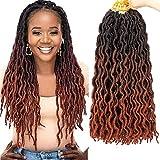 Gypsy Locs Crochet Hair - 6 Packs Ombre Faux Locs Crochet Hair 18 Inch Gypsy Locs Crochet Hair Nu Faux Locs Crochet Braids Bo Locs Crochet Hair (Color: #1B/530/350)