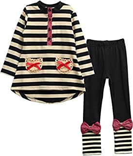 小女孩儿童 2 件套长袖上衣裤打底裤服装套装
