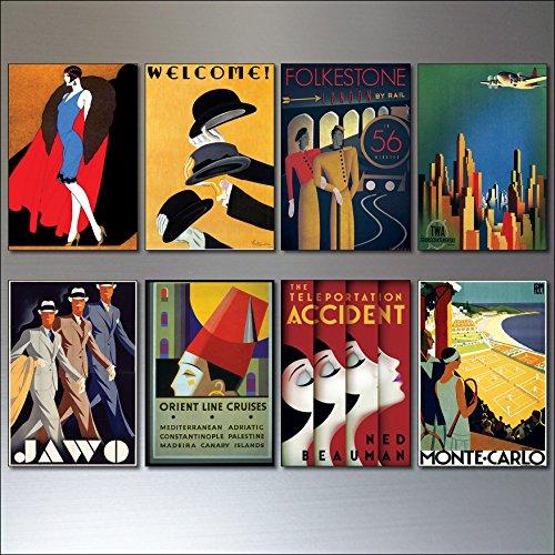Art Deco Vintage Posters fridge magnets set of 8