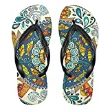 Linomo Chanclas de dedo para hombre y mujer, estilo étnico, con diseño de mandala, para verano, para la playa, color Multicolor, talla 36/37 EU