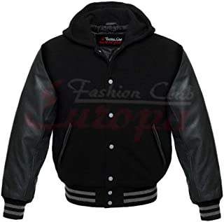 Men's Varsity Letterman Real Leather Sleeves/Wool Letterman Jacket W/Hoodie. Difference Color Options