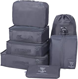 Packing Cubes 7 Sets Travel Luggage Organizers with Waterproof Shoe Storage Bag Packing Pouches (Grey)