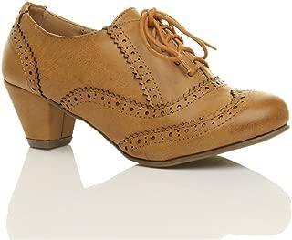 Ajvani Women's Mid Heel Cut Out Brogues Shoe Boots Size