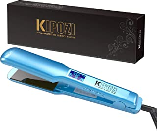 """KIPOZI Pro Nano Titanium Flat Iron Hair Straightener with Digital LCD Display, Heats Up Instantly, A High Heat of 450 Degrees, Dual Voltage, 1.75"""" Wide Plate(Blue)"""