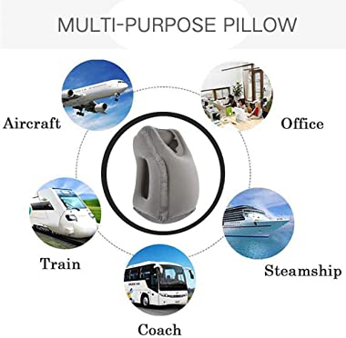 Inflatable Travel Pillow, Airplane Pillow, Neck Pillow, Travel Pillows for Airplanes, Car, Office Napping for Neck Head Support, Flight Sleep Pillow, Travel Accessories for Women and Men (1 Pack)