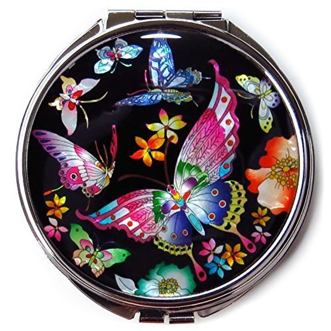 松の木委託エレガントMADDesign #3黒真珠金属蝶の韓国化粧コンパクトミラー母 黒、赤、黄、青、ピンク、緑、紫 [並行輸入品]