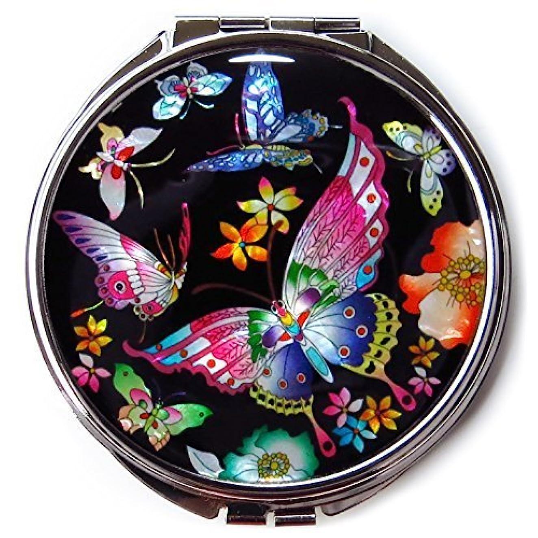 暖かく妊娠した同様にMADDesign #3黒真珠金属蝶の韓国化粧コンパクトミラー母 黒、赤、黄、青、ピンク、緑、紫 [並行輸入品]
