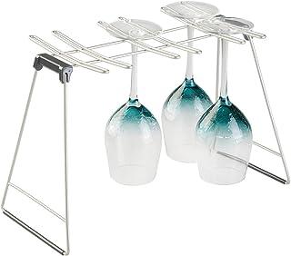 mDesign soporte copas para un máximo de 6 copas de vino - Colgador de copas de acero inoxidable - Soporte para copas plegable