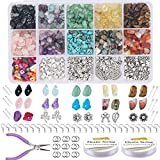 EuTengHao 933Pcs Irregular Chips Stone Beads Natural Gemstone Beads Kit with Earring Hooks Spacer Beads Pendants Charms Jump Rings for DIY Jewelry Necklace Bracelet Earring Making Supplies
