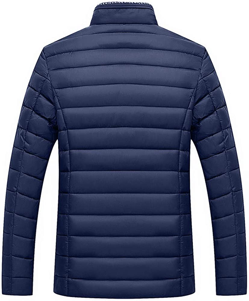 DIOMOR Mens Winter Business Stand Collar Warm Puffer Jacket Casual Full Zip Down Coat Quilted Outdoor Anoraks