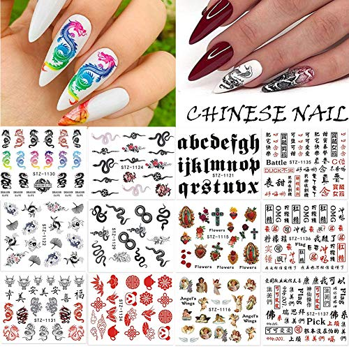 Dragon Snake Nail Art Stickers Decals New Year Red Black Gothic Design Water Slider Chinese Manicure Angle Chinese Character Nail Art Decor 12 Sheets