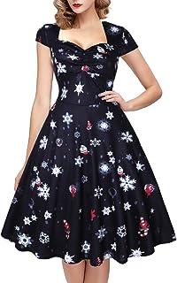 7074a02f407 oten Femme de vœux de Noël Motif imprimé Floral Sugar Tête de Mort Vintage  Rockabilly Robe