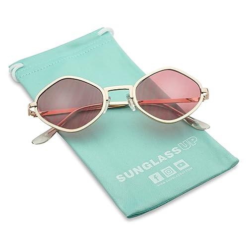 19fbb0a720 Full Metal Geometric Diamond Shaped Candy Color Tint Flat Lens Designer  Inspired Sun Glasses