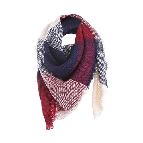 Tefamore Femmes Echarpe foulards longue de cou de châle de laine de  cachemire de point coloré 7f93c3cc223